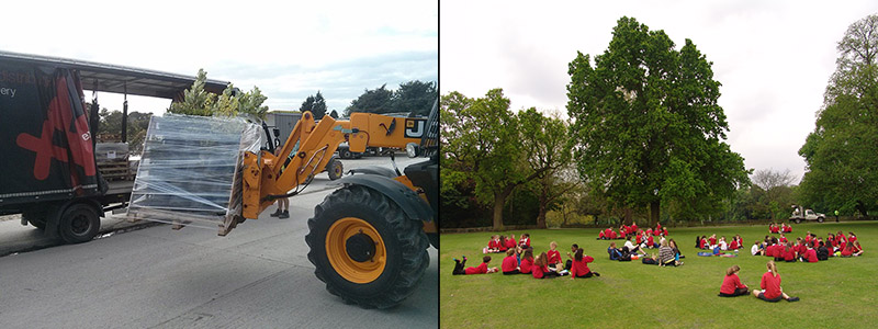 Image of plants being loaded onto a semi-trailer and an image of school kids sitting by an oak tree.